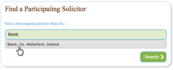 view of the find a solicitor functionality